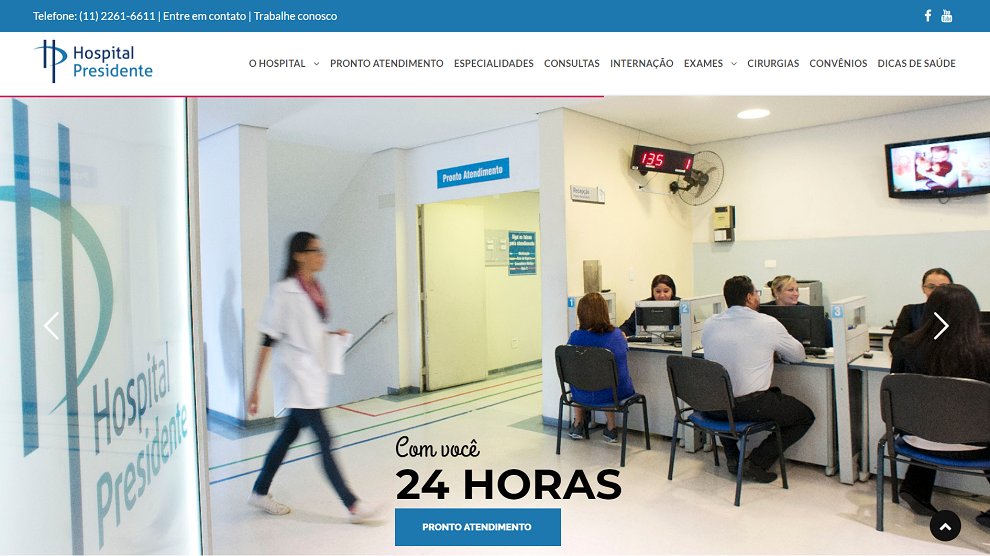 Website do Hospital Presidente, produzido pela Cross Content