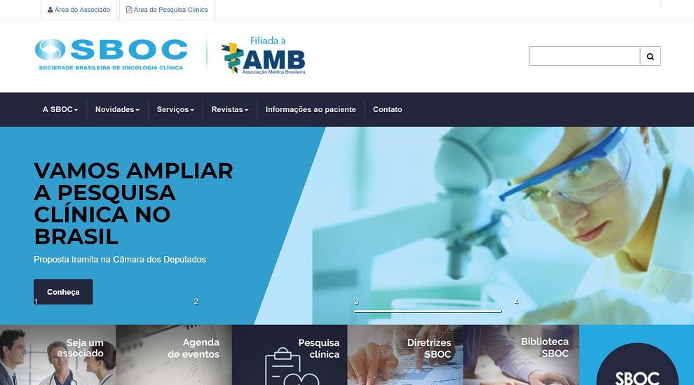 Website da Sociedade Brasileira de Oncologia Clínica, com conteúdo produzido pela Cross Content