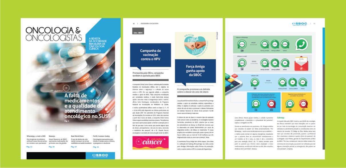 Páginas da revista Oncologia & Oncologistas, da SBOC, edição 1