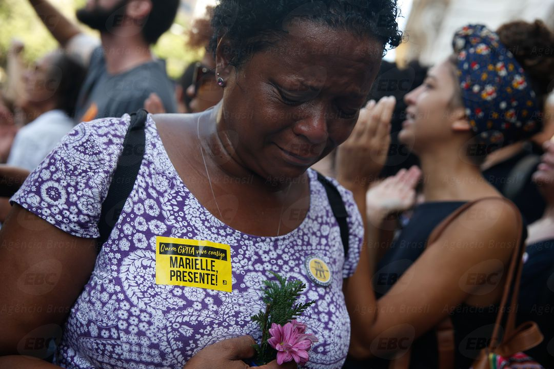 Rio de Janeiro - Manifestante acompanha a chegada do corpo da vereadora Marielle Franco e do motorista Anderson Gomes à Câmara Municipal, no centro do Rio, onde ocorre o velório (Fernando Frazão/Agência Brasil)