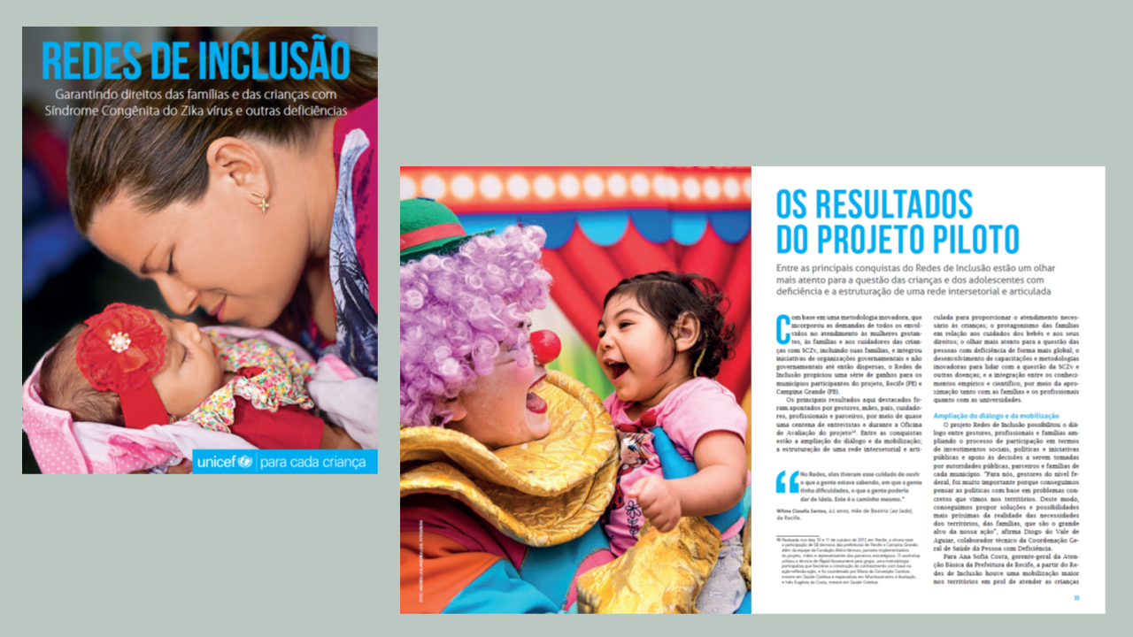 """Capa e páginas internas do livro """"Redes de Inclusão"""", do Unicef"""