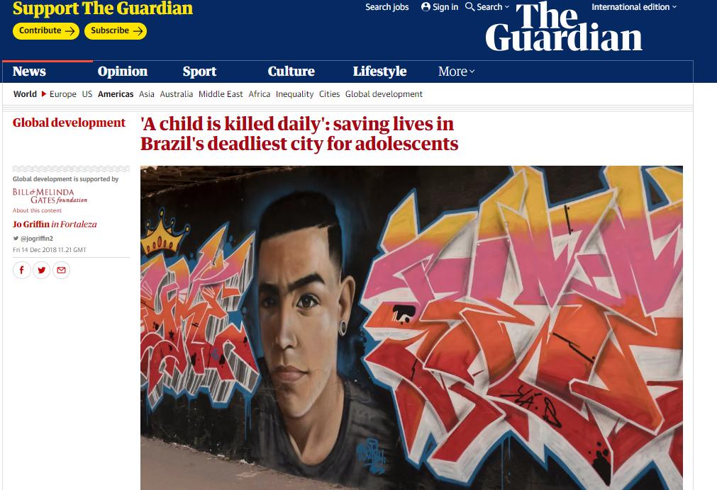 The Guardian - reportagens sobre assassinatos no Ceará - reprodução