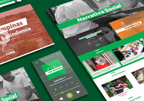Imagem traz colagem de projetos realizados pela Cross Content para a Fundação FEAC