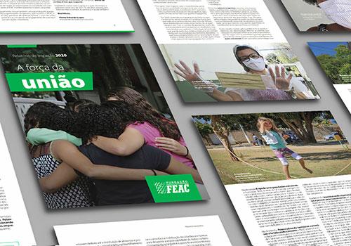 Reprodução da capa e de páginas internas do Relatório de Impacto 2020 da Fundação FEAC